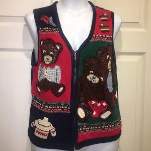 Casual Corner Knit Teddy Bear Vest Zip M Novelty